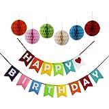 Threemart Happy Birthday Decoration Banner With Colorful Tissue Pom Pom Ball