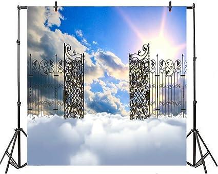 GzHQ 5x5ft Valla de Hierro Puerta al Cielo Telón de Fondo Fantasía Puerta de Acero Sol Cielo Azul Nubes País de Las Maravillas Fotografía Fondo Fiesta Eventos Decoración Video Studio Props: Amazon.es: