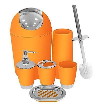 Amazon Com Orange Bathroom Accessories Set 6 Pieces Plastic