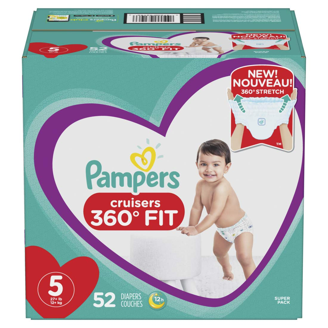 Diapers Size 5, 52 Count - Pampers Pull On Cruisers 360˚ Fit Disposable Baby Diapers with Stretchy Waistband, Super Pack by Pampers