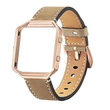 Correa de reloj con marco de metal de la marca Saihui, de lujo, con piel auténtica, para el reloj inteligente Fitbit Blaze., caqui: Amazon.es: Deportes y ...