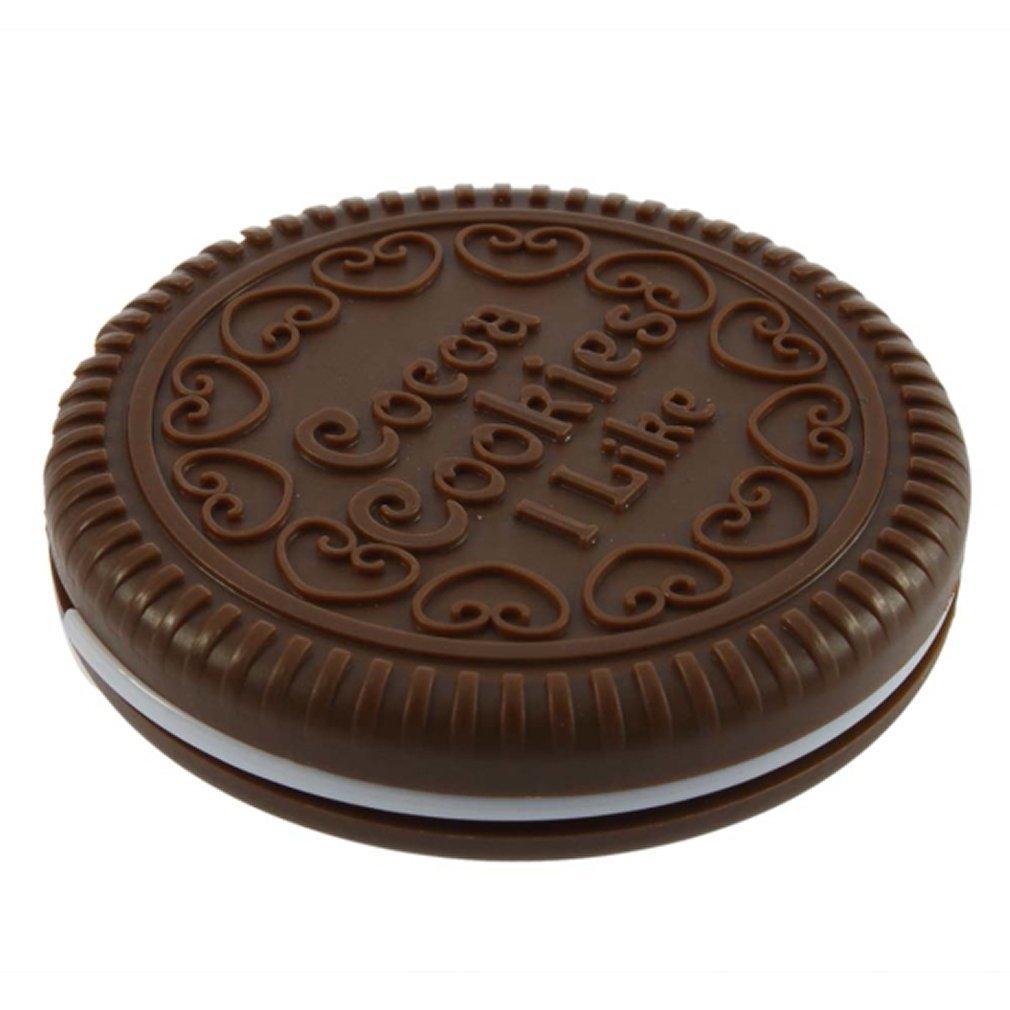 SODIAL - Miroir cosmétique portable en forme de biscuit de chocolat mignon + Peigne