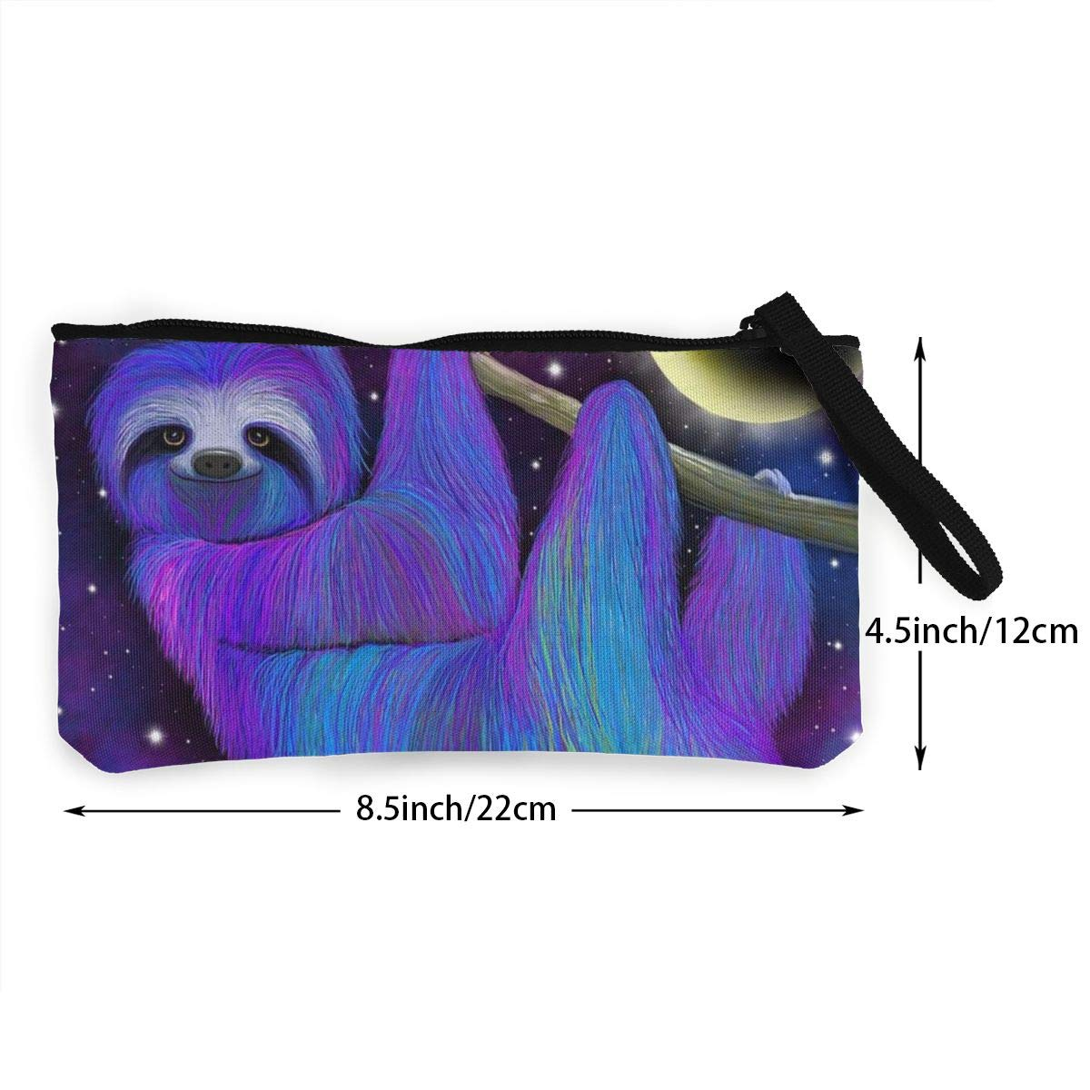 Make Up Bag,Cellphone Bag With Handle Sloth Moonlight Zipper Canvas Coin Purse Wallet