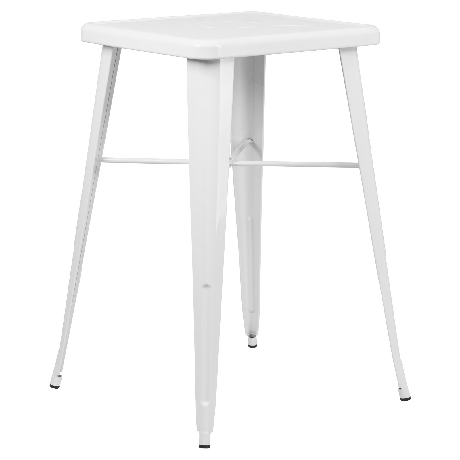 Basic 30'' Square Metal Indoor-Outdoor Bar Height Table with Protective Rubber Feet to Prevent Damage to Floors, Great for All Weather and Outdoor/Indoor Use, White + Expert Home Guide by Love US