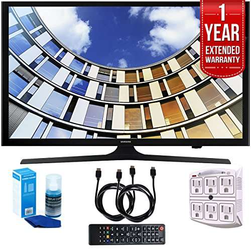 "Samsung UN43M5300AFXZA Flat 43"" LED 1920x1080p Smart TV (2017 Model) with 1 Year Extended Warranty, Professional Screen Cleaning Kit, and Two (2) 6 Foot HDMI Cables Bundle"
