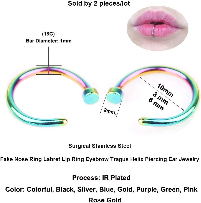Nose Stud 2Pcs//Lot Fake Nose Ring Labret Lip Ring C Clip Lip Piercing Helix,6Mm,Rose Gold-Multicolor