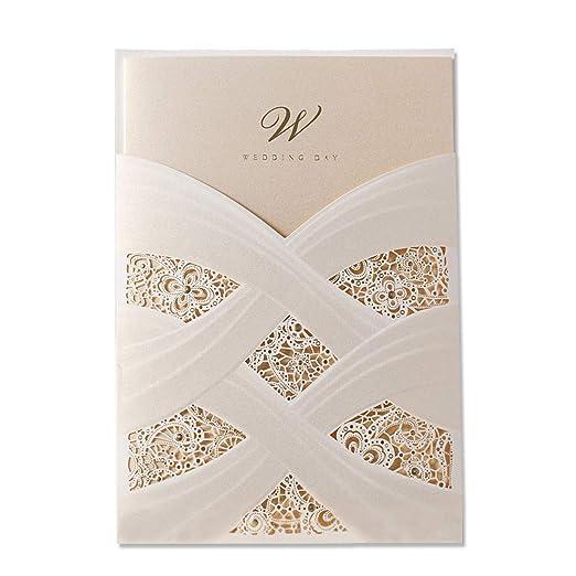 50x Wishmade Elegante Marfil Láser Corte Boda Invitaciones Tarjetas Con Encaje Flores Bolsillo Diseño Matrimonio Aniversario Compromiso Tarjeta Invita