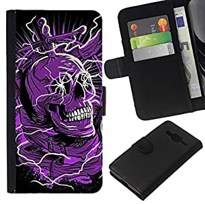 Stuss Case / Funda Carcasa PU de Cuero - Cráneo púrpura Negro Muerte eléctrico Dead - Samsung Galaxy Core Prime