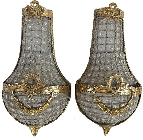 French Empire Pair of Crystal Wall Sconces Ribbon Wreath Lampwork by Egypt gift (French Traditional Sconce)