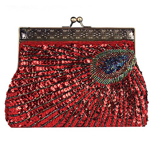red Purse£¬22 Bags Vintage Party Clutch Evening Antique Peacock 4cm X 14 Handbag Dinner Sequin NVBAO Beaded X aqfxPB