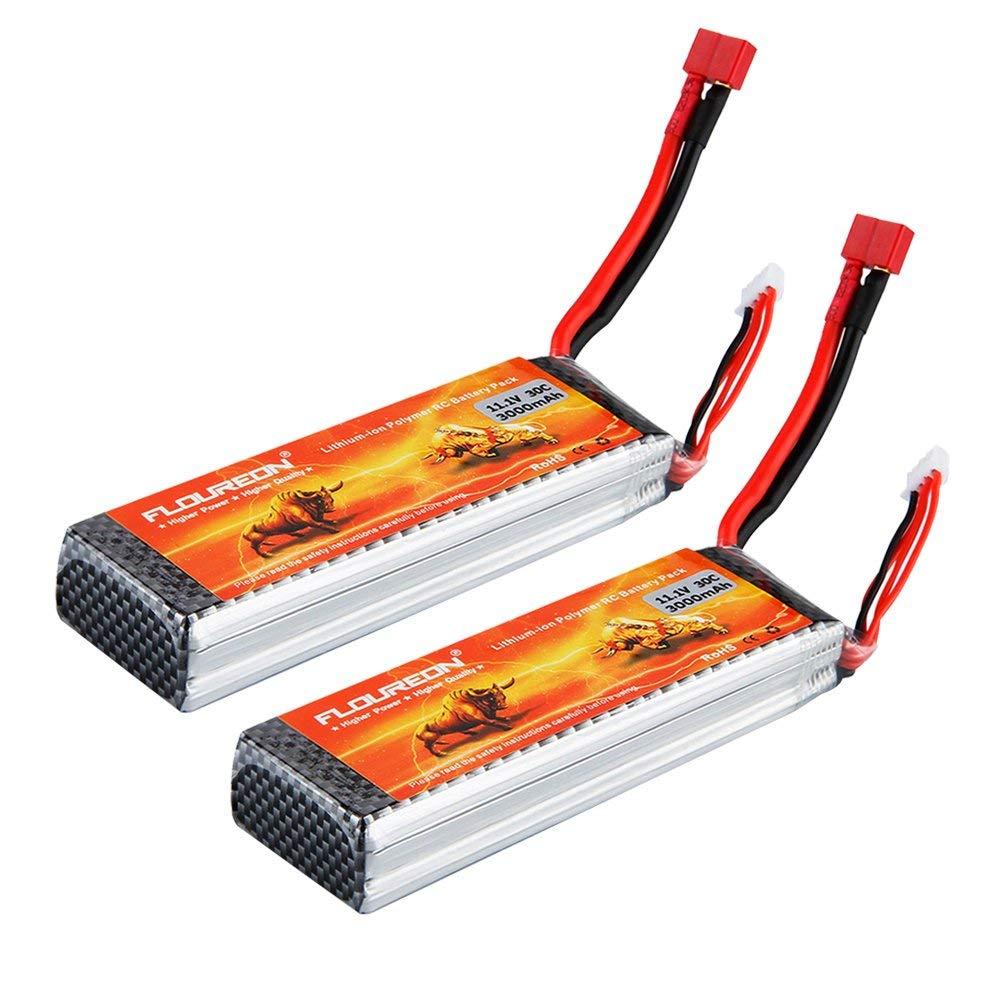 FLOUREON Lipo 3S 30C 11.1V 3000mAh T Plug Rechargeable RC Battery Pack for Car Truck Boat Traxxas Slash Emaxx Monster HPI Kyosho UAV FPV Drones DIY Hobby and More (2pack)