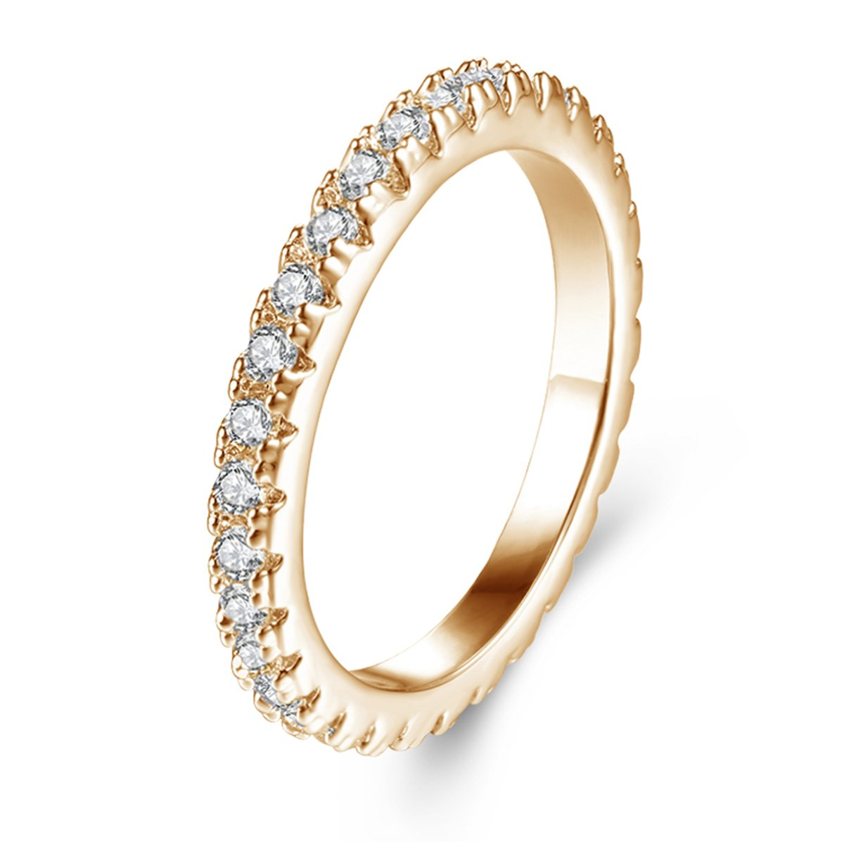 Jiangyue Women Band Rings AAA Cubic Zirconia Champagne Gold Plated Simple Solid Vibrant Ring Party Jewelry Size 5