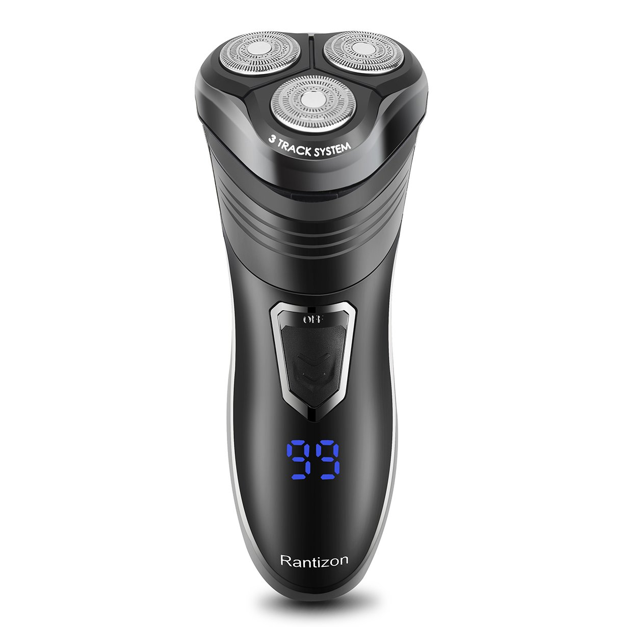 Electric Shaver, Rantizon R-11 Wet & Dry Cordless Rotary Shaver for Men Upgraded Triple-Track Blade IPX6 Washable Rechargeable Razor with Pop-Up Trimmer