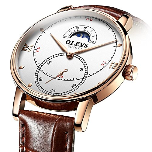 Rose Gold Watches for Men,Brown Leather Watch Men Business Casual Wrist Watch,Fashion Japan Quartz Movement Watch with White Face,Men's 30m Waterproof Wrist Watches,Round White Dial by OLEVS (Image #1)