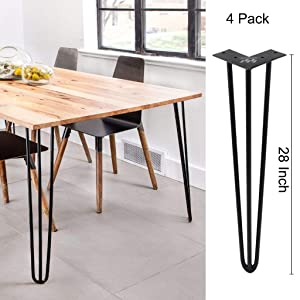 WINSOON Industrial Iron Hairpin Table Legs 28 Inch Set of 4 Pack Metal Bench Legs for Furniture feet Wooden Desk Legs Hair Pin Design (28 Inch 3-Rod Black)