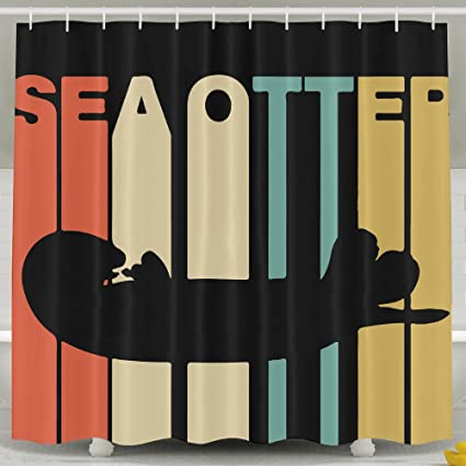 Vintage Style Sea Otter Shower Curtain Fabric Bathroom Set72x60 Inch