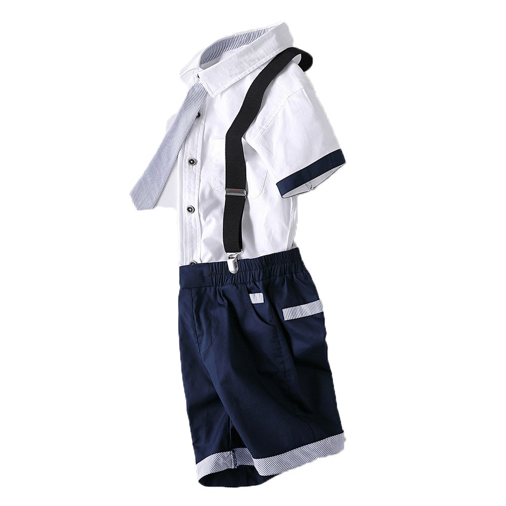 Kungfu ant Childrens Casual Gentleman Short Sleeve Tie Shirt Bib Shorts Sets Outfits (Navy Blue, 130(6-7 Years))