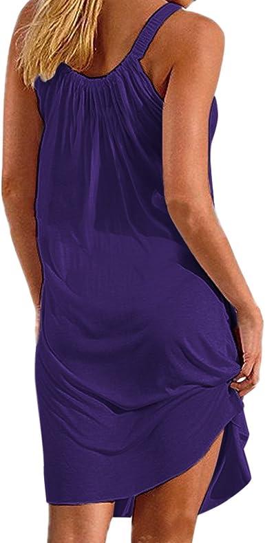 TALLA XL. BienBien - Vestido de verano corto sin mangas para mujer, de verano, tallas grandes para cócteles, ceremonias, fiestas de playa, etc.