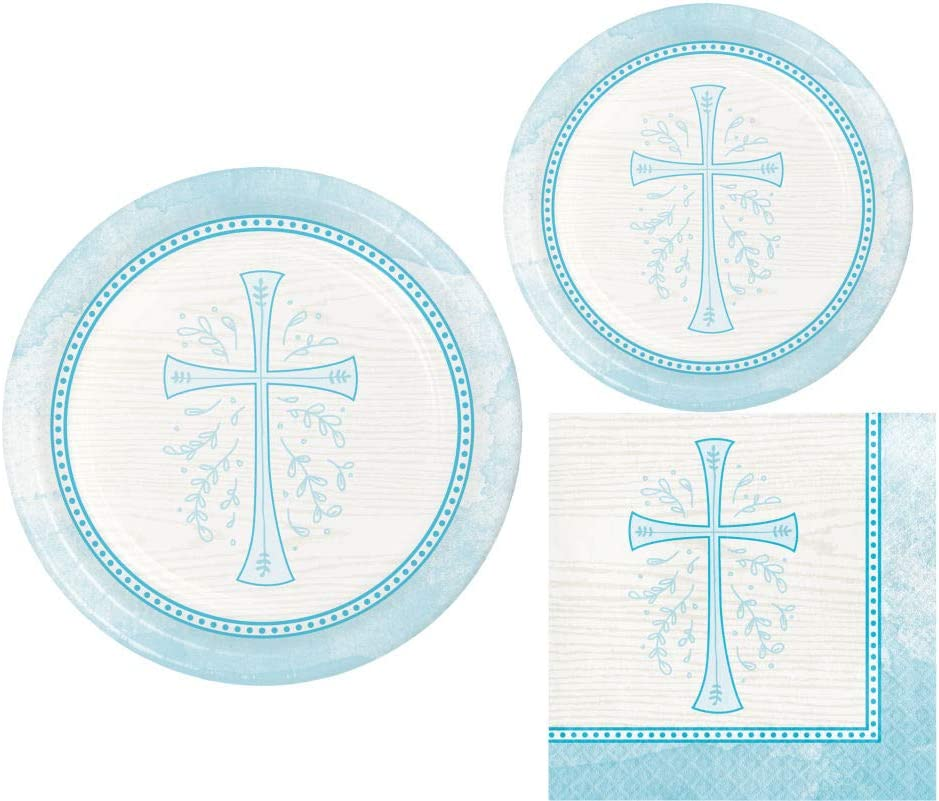 Inspirational Religious Party Supplies: Bundle Includes Dinner Plates, Dessert Plates and Napkins for 8 People in a Divinity Cross Design (Blue)