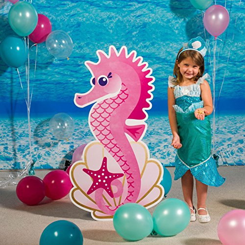 3 ft. 6 in. Mermaid Waves and Wishes Seahorse Standee Standup Photo Booth Prop Background Backdrop Party Decoration Decor Scene Setter Cardboard Cutout ()