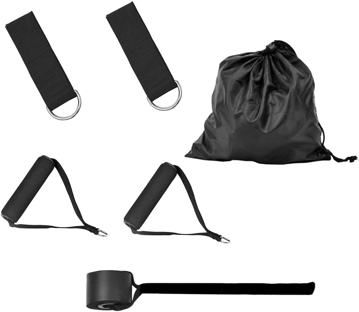 Fitness Exercice Bands Kit avec Ancre de Porte//Poign/ées//Sangle de Cheville pour Fitness Pilates Yoga Gym Entra/înement Magiin Bande de R/ésistance Elastiques Set de 5