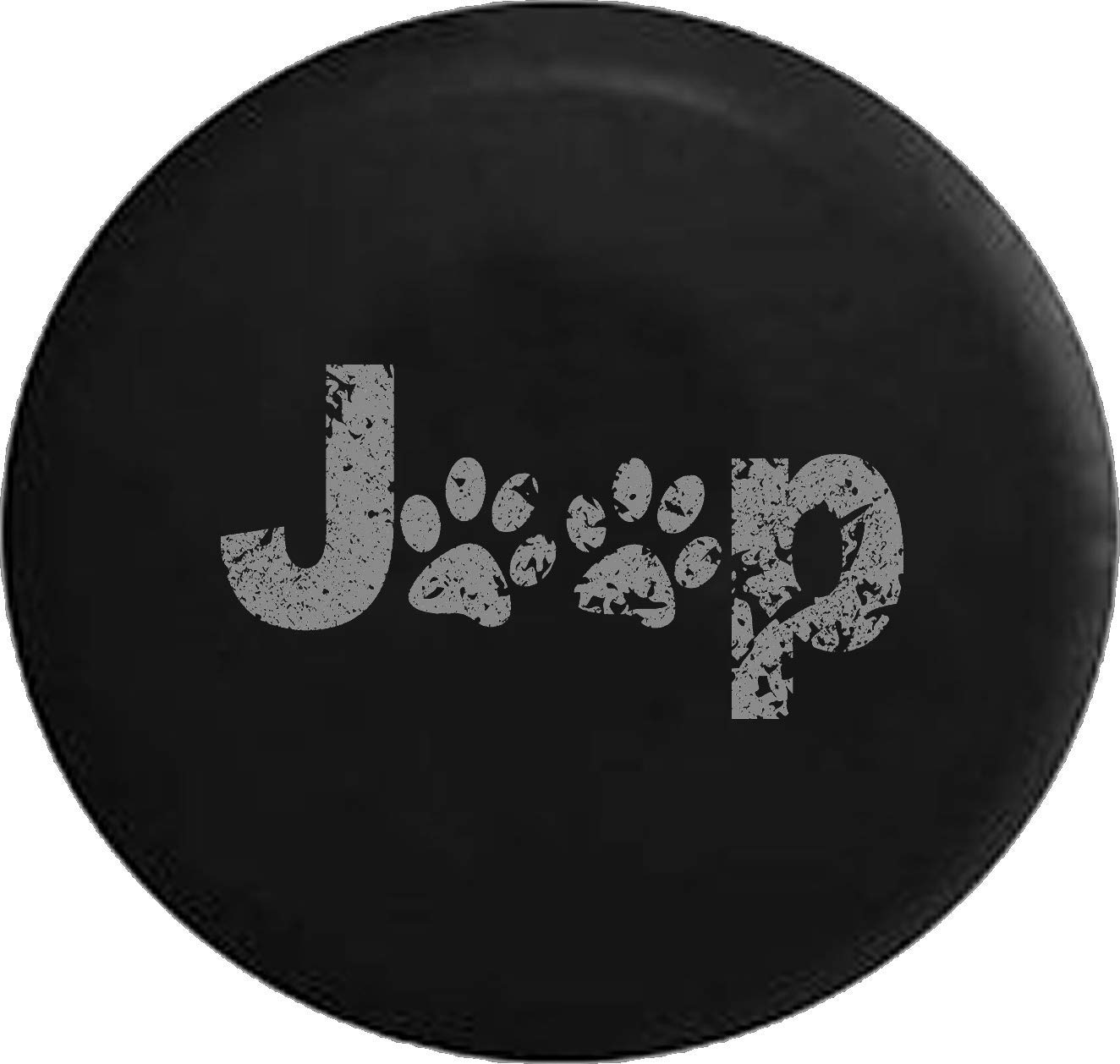 Color Options Black 32 Inch Jeep Tire Cover for Spare Tire Distress Paw Prints Animal Lover