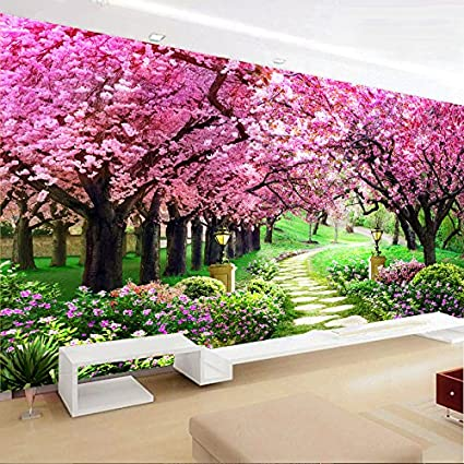 AIGUFENG Hecho a mano en punto de cruz acabado cerezo jardín sala de estar paisaje paisaje