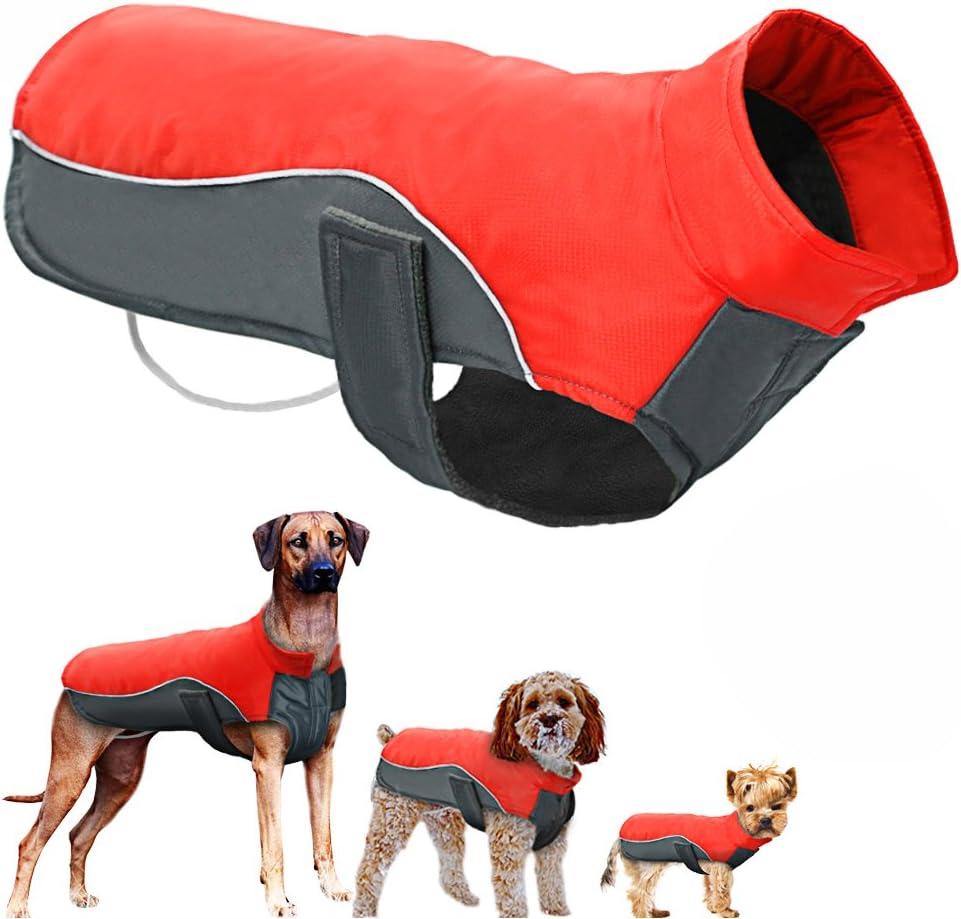 POPETPOP Chaqueta de Invierno para Perros Chaqueta de Lana Impermeable para Mascotas Parka Abrigo cálido Ropa para Perros para Perros Grandes Tamaño del Perrito M (Rojo)
