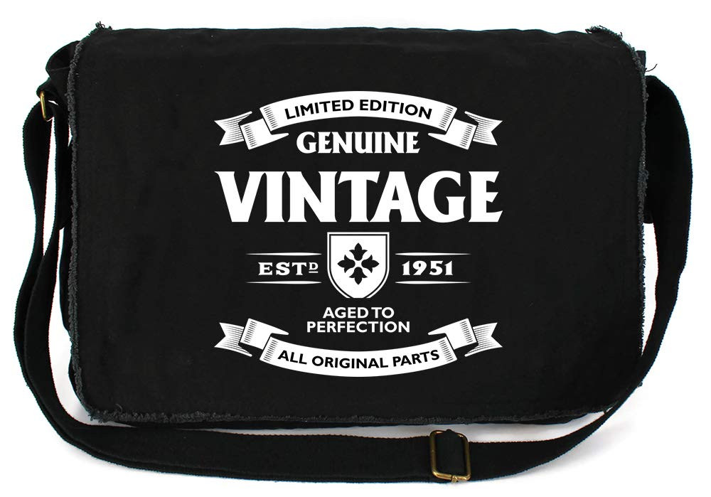 Tenacitee Aged to Perfection 1951 Grey Brushed Canvas Messenger Bag