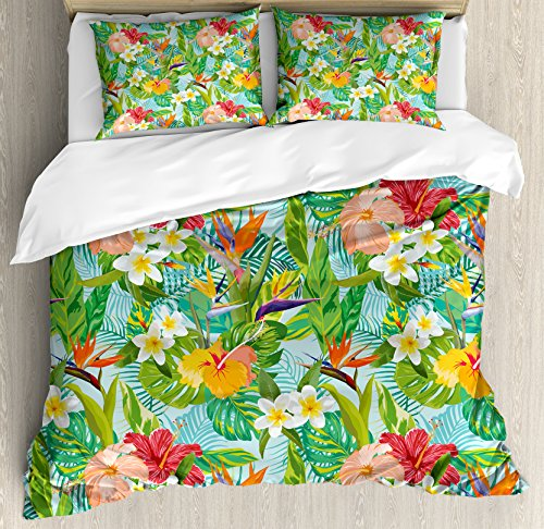 - Leaf King Size Duvet Cover Set by Ambesonne, Vintage Cartoon Style Image of Hawaiian Flowers Crepe Gingers, Decorative 3 Piece Bedding Set with 2 Pillow Shams, Blue Light Green Orange and Pink