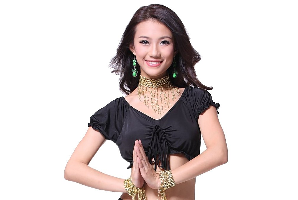 ZLTdream Lady's Belly Dance Straps bra Top With Chest Pad Black