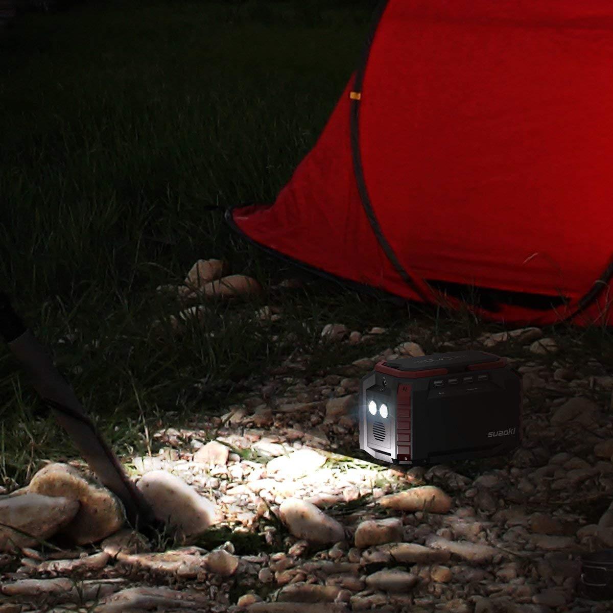 150Wh Generador Port/átil Solar Estaci/ón Almacenamiento Suministro de Energ/ía Potencia Carga QC3.0 con una AC 220V Salida, 4 Puertos USB, linternas LED Emergencia para Camping, Senderismo SUAOKI