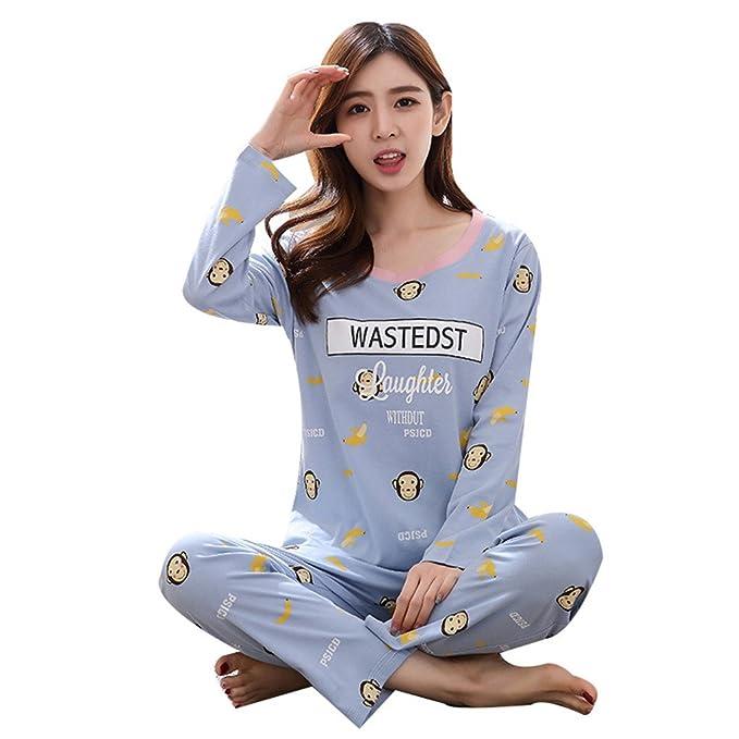 Naughtyspicy Pijamas para mujeres, pijamas estampados de dibujos animados, pjyama para primavera y otoño