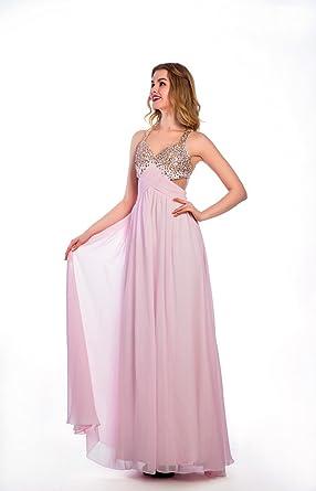 Dressilymall Womens Perfect Beaded Chiffon A-line Prom Dress Pink ...