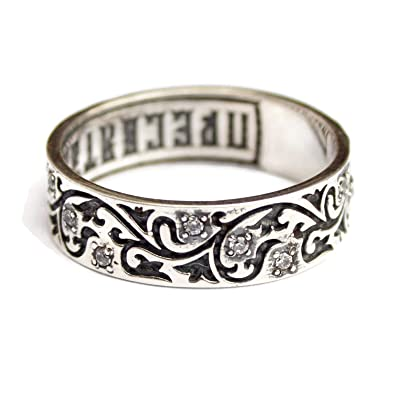 Purity Rings for Women Christian Promise Ring with Lords Prayer Keep Me Safe CZ Sterling Silver