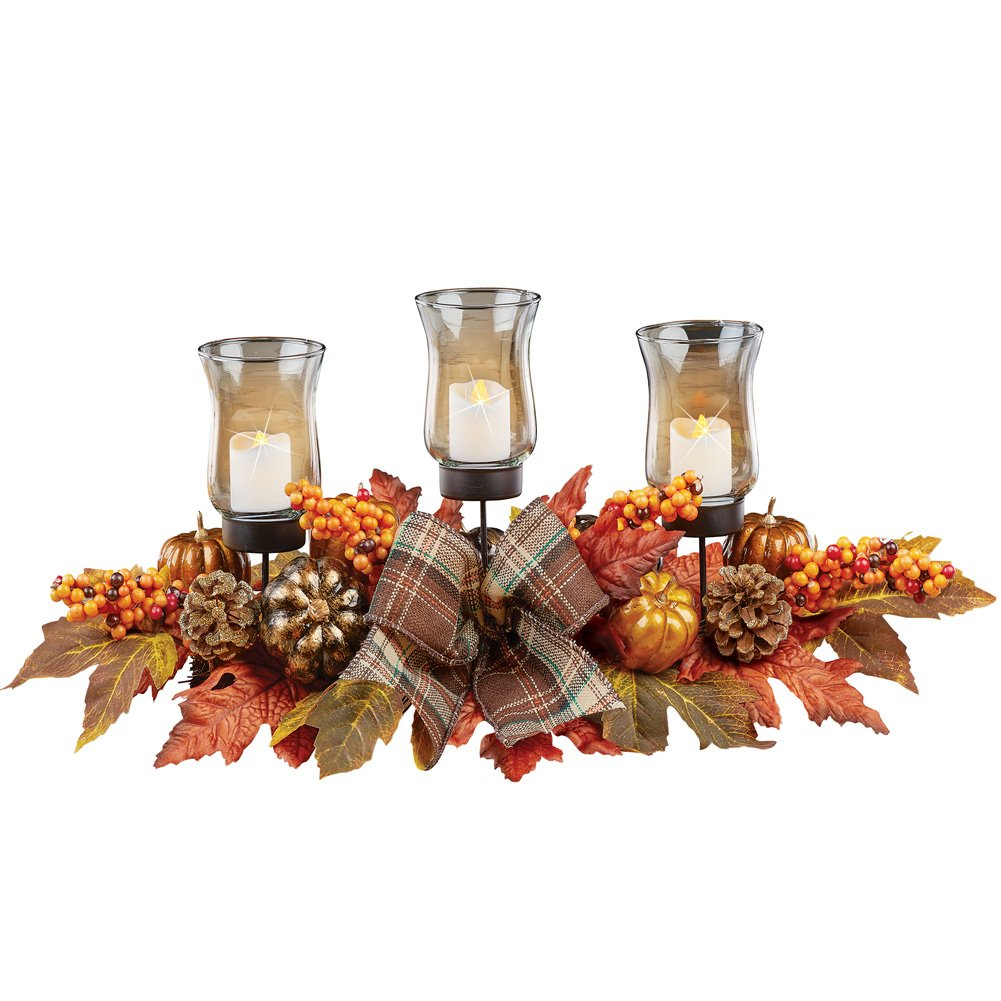 Collections Etc Leaves and Berries Fall Centerpiece LED Votive Candle Holders, Pumpkins, Plaid Bows, Gold, Orange and Bronze Home Décor