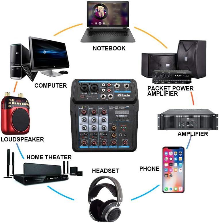 USB webcast enregistrement chant M4 M6 Mini console de mixage audio DJ avec carte son alimentation fant/ôme 48 V pour PC f/ête M4
