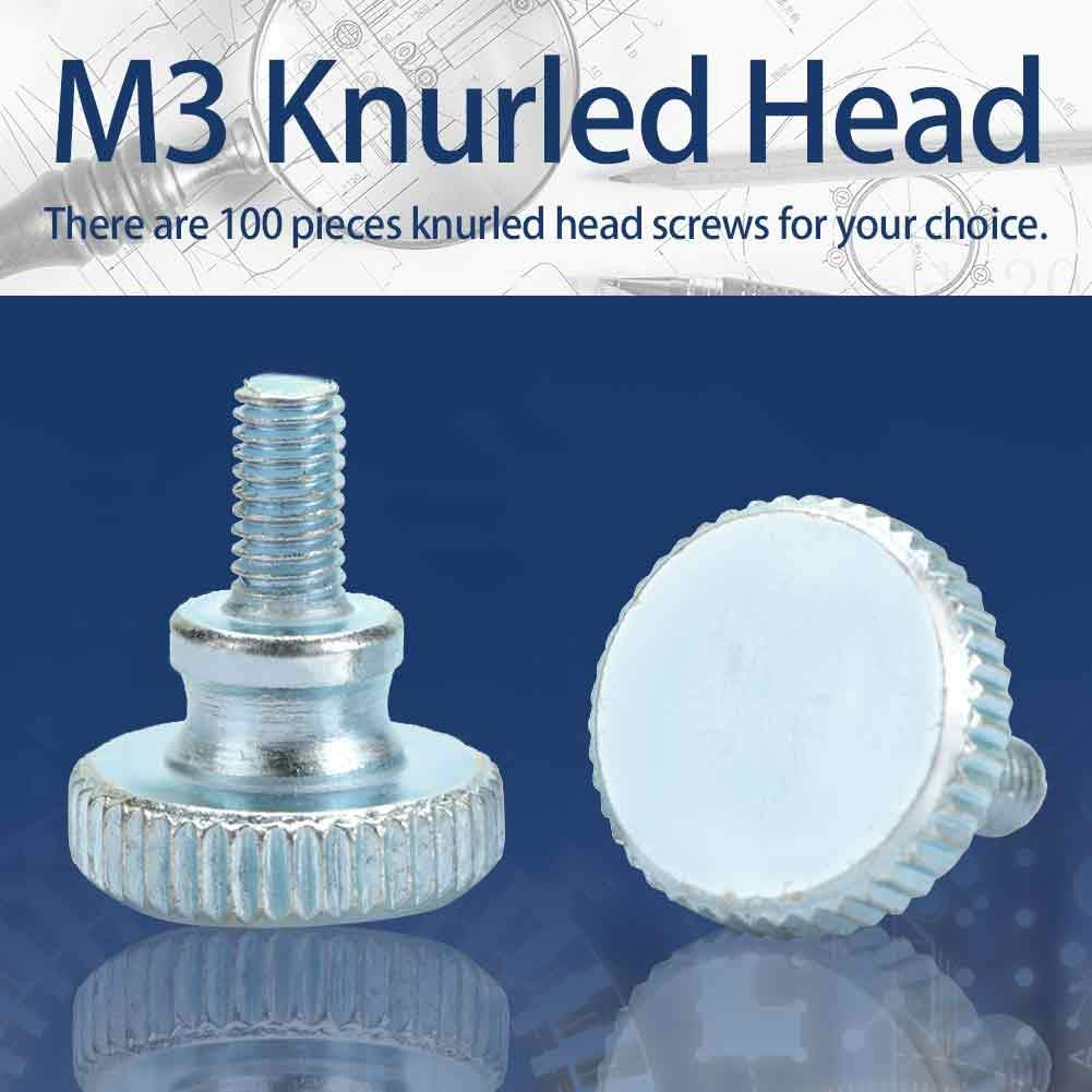M3*20(100pcs) Tornillo de cabeza moleteada ajustable M3 de 100 piezas Tornillo industrial de cabeza alta
