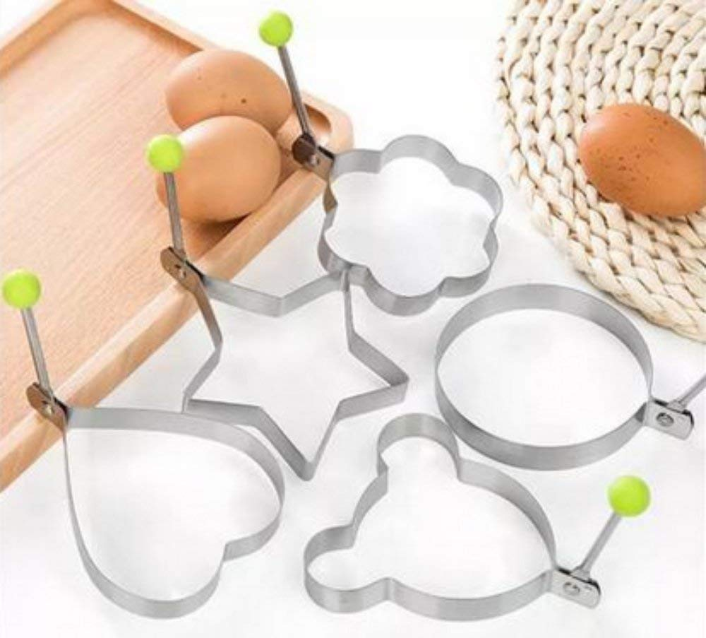Magik 5 Pcs Fried Egg Non Stick Stainless Steel Pancake Ring Mold Cooking Kitchen Tools by Magik (Image #3)
