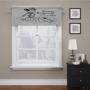 "carmaxs Valences Paris for Small Windows from Paris with Love Fashion Hand Drawn Girl Figure Shopping Polka Dot Design Skirt 56"" x 16"" Black White"