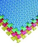 16-square-ft-Multi-Color-Exercise-Mat-Anti-fatigue-Interlocking-Puzzle-EVA-Foam-Floor-Cover-4-tile-with-8-boarder-by-Poco-Divo