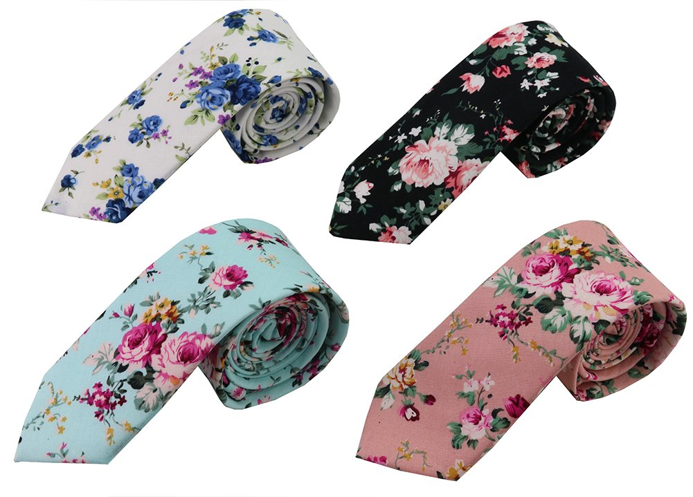 Mantieqingway Skinny Ties Men's Cotton Printed Floral Neck Tie (mix9)