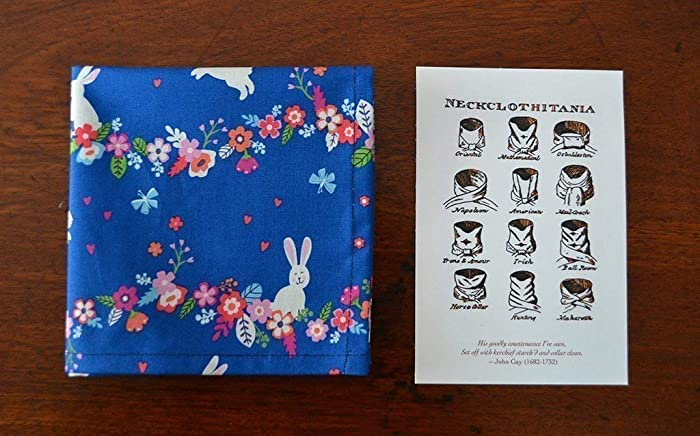 743a88bbc12b1 Amazon.com: Cotton Pocket Scarf Handkerchief or Pocket Square - Rabbits in  the Garden - Blue and Pink: Handmade