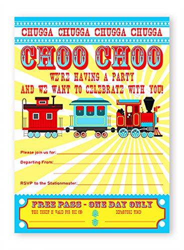 Train Party LARGE Invitations - 10 Invitations + 10 ()