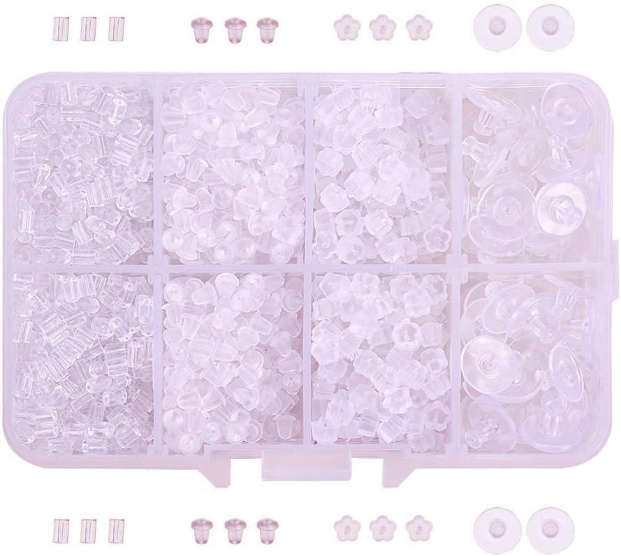 Pandahall Elite–Gancho Pendientes, con perlas, sin níquel, latón colores Melangees, alfiler: 0.7mm; 19x 1.5mm..., plástico, transparente, 2.5 ~ 10x3 ~ 6mm