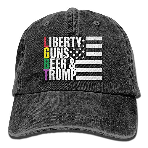 OEAJRNA Liberty Gun Beer L G B T Jeans Caps Classic Adjustable Jeans Hat For Mens And Womens