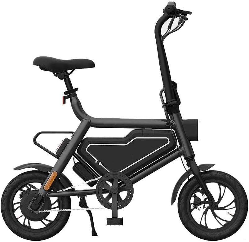 折りたたみ式電動自転車、12インチ耐摩耗性衝撃吸収タイヤ、効率的なダブルブレーキ電動モペット付き,黒