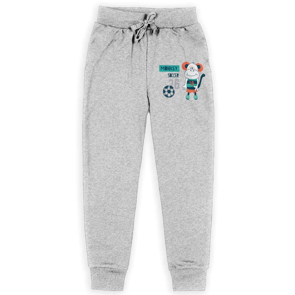 Xinding Boys Cotton Training Sweatpants Cute Monkey with Soccer Adjustable Waist Pants with Pocket