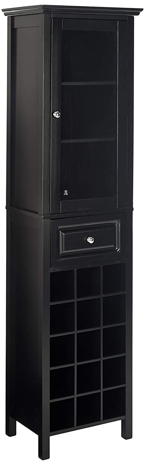 Winsome Burgundy Wine Cabinet 15-Bottle, Glass Door