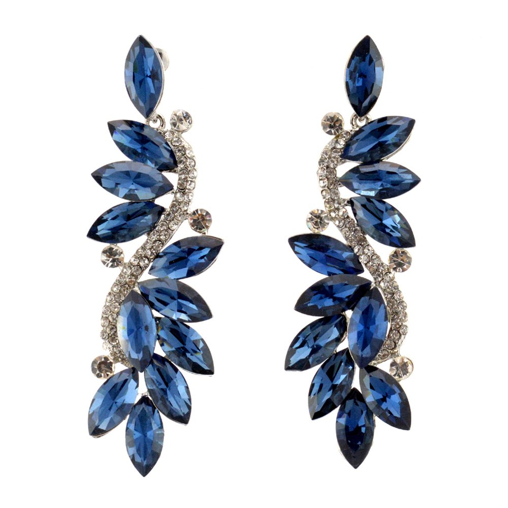 287-NAVY Dk BLUE Fashion Party & Wedding Jewelry Tear Drop Dangle Chandelier Alloy Rhinestone Earrings